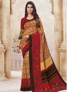 Red and Yellow Faux Georgette Designer Contemporary Style Saree
