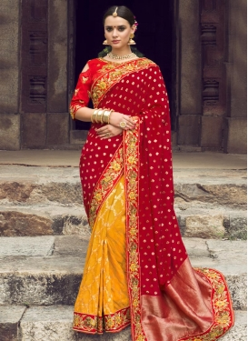 Red and Yellow Half N Half Trendy Saree