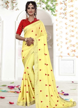 Red and Yellow Lace Work Traditional Saree