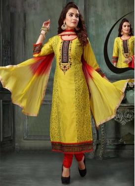 Red and Yellow Readymade Churidar Salwar Kameez For Ceremonial