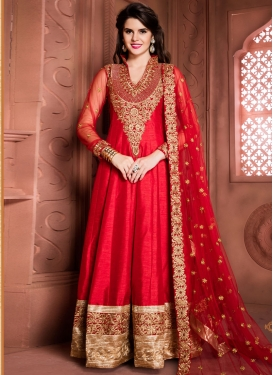 Red Banglori Silk Floor Length Anarkali Suit