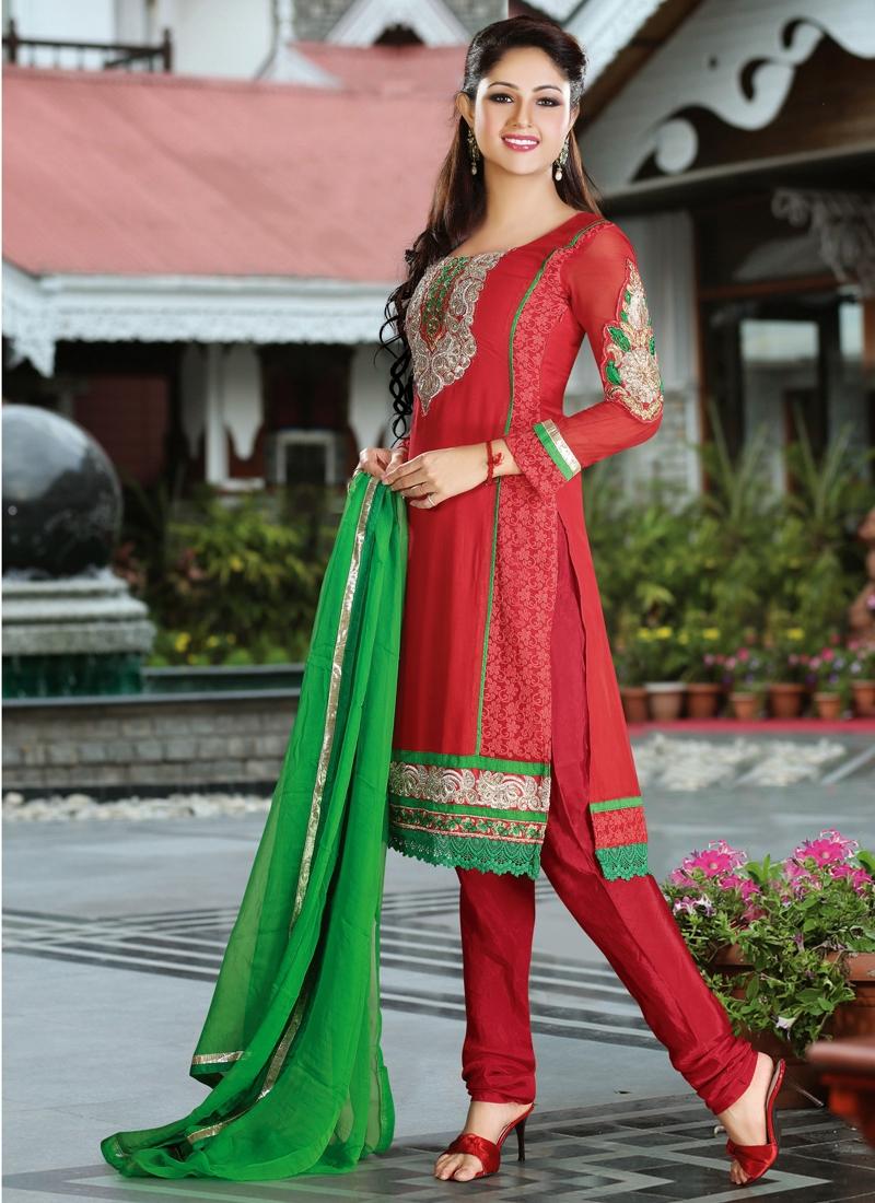 Red Color Faux Georgette Party Wear Salwar Kameez