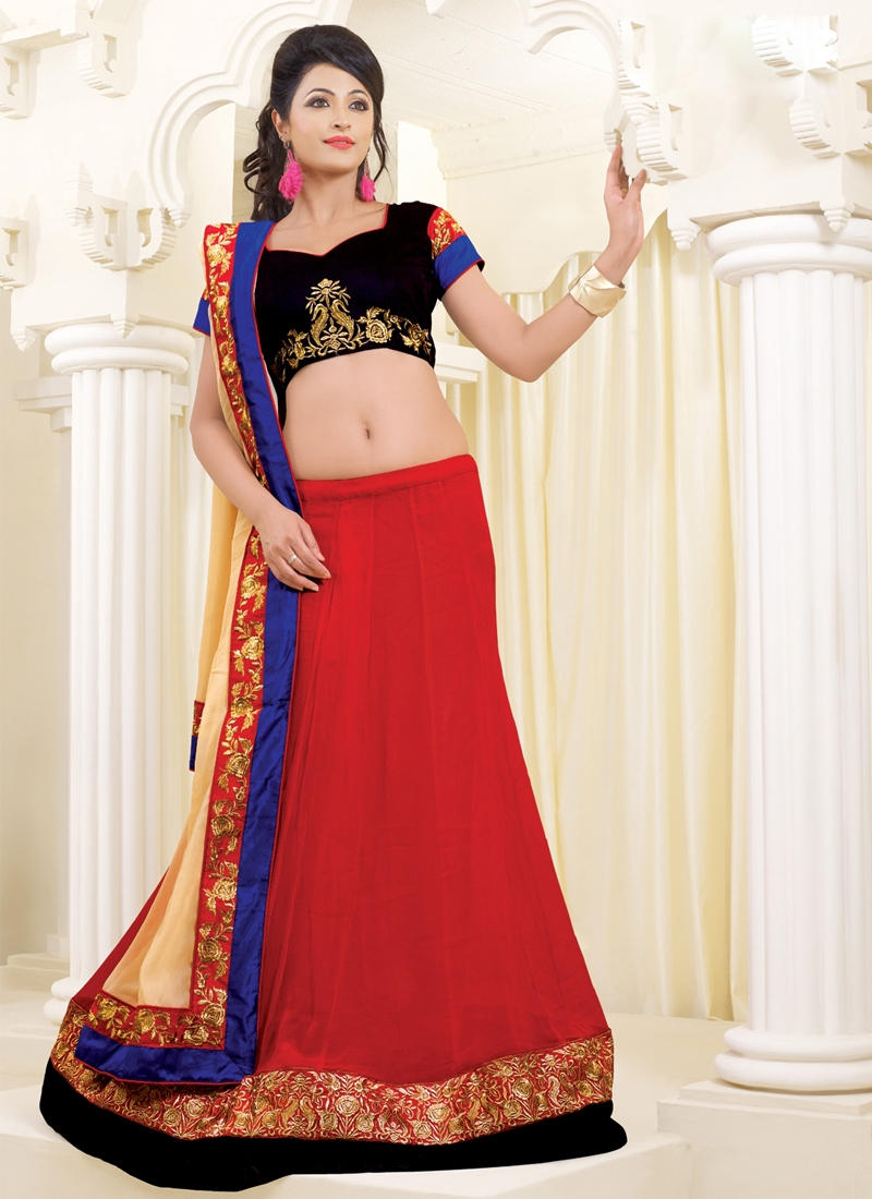 Red Color Georgette Party Wear Lehenga Choli