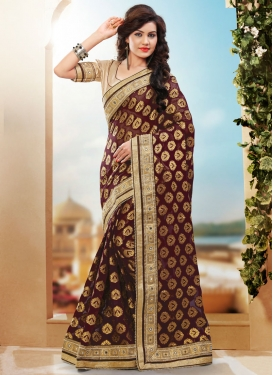 Refreshing Beads Work Coffee Brown Color Wedding Saree