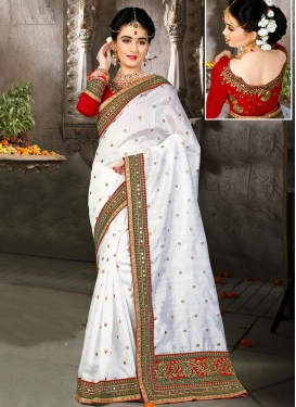 Refreshing Bhagalpuri Silk Lace Work Designer Contemporary Saree