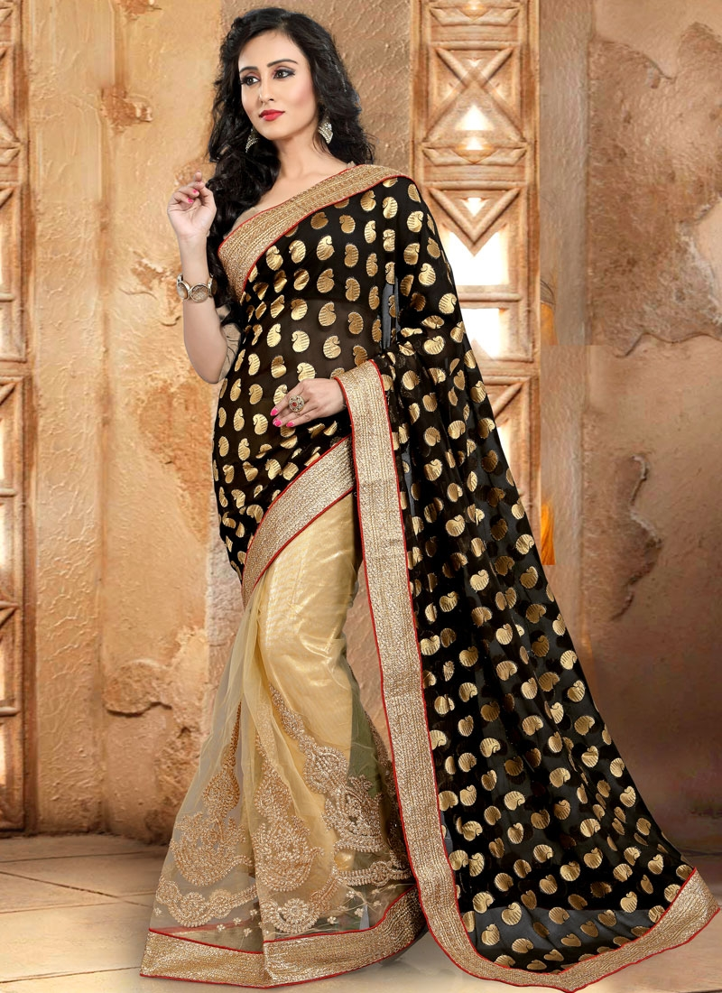 Refreshing Booti Work Half N Half Party Wear Saree