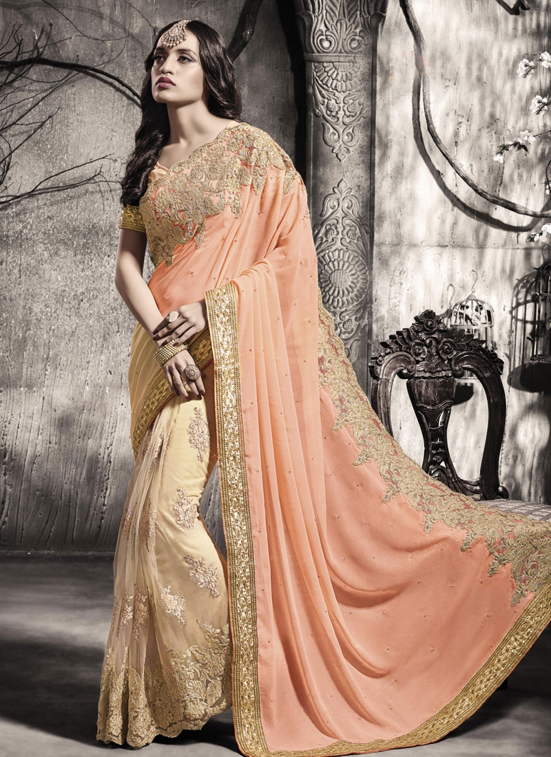 Refreshing Booti Work Peach Color Half N Half Wedding Saree