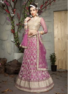Refreshing Embroidery Work Net Bridal Lehenga Choli