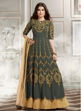 Refreshing Faux Georgette Embroidered Work Long Length Designer Suit For Ceremonial