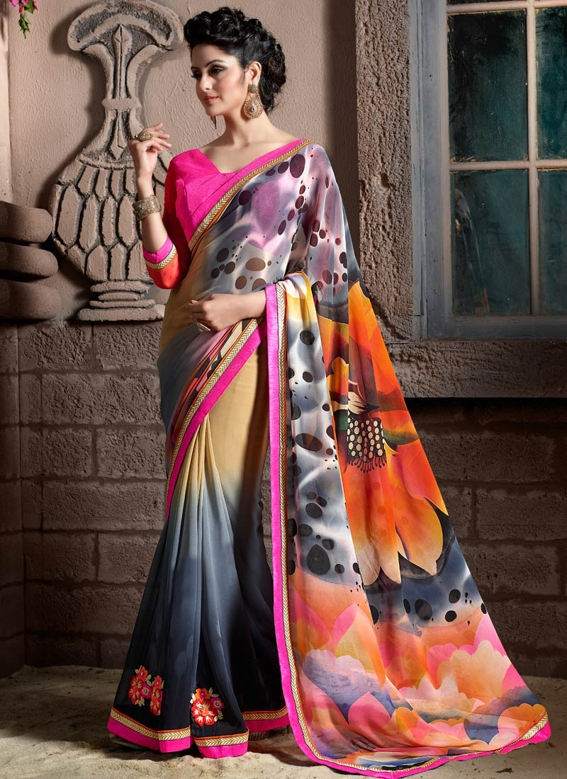 Refreshing Grey And Beige Color Casual Saree