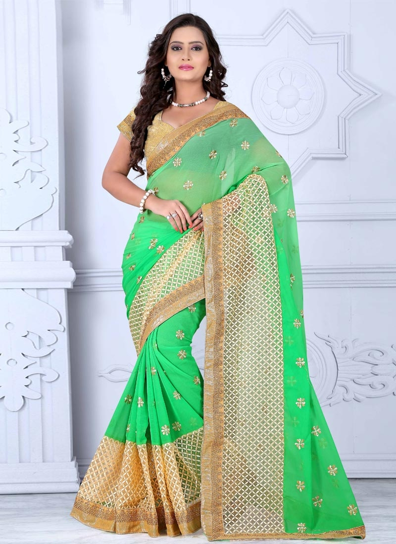 Refreshing Mint Green Color Stone Work Party Wear Saree