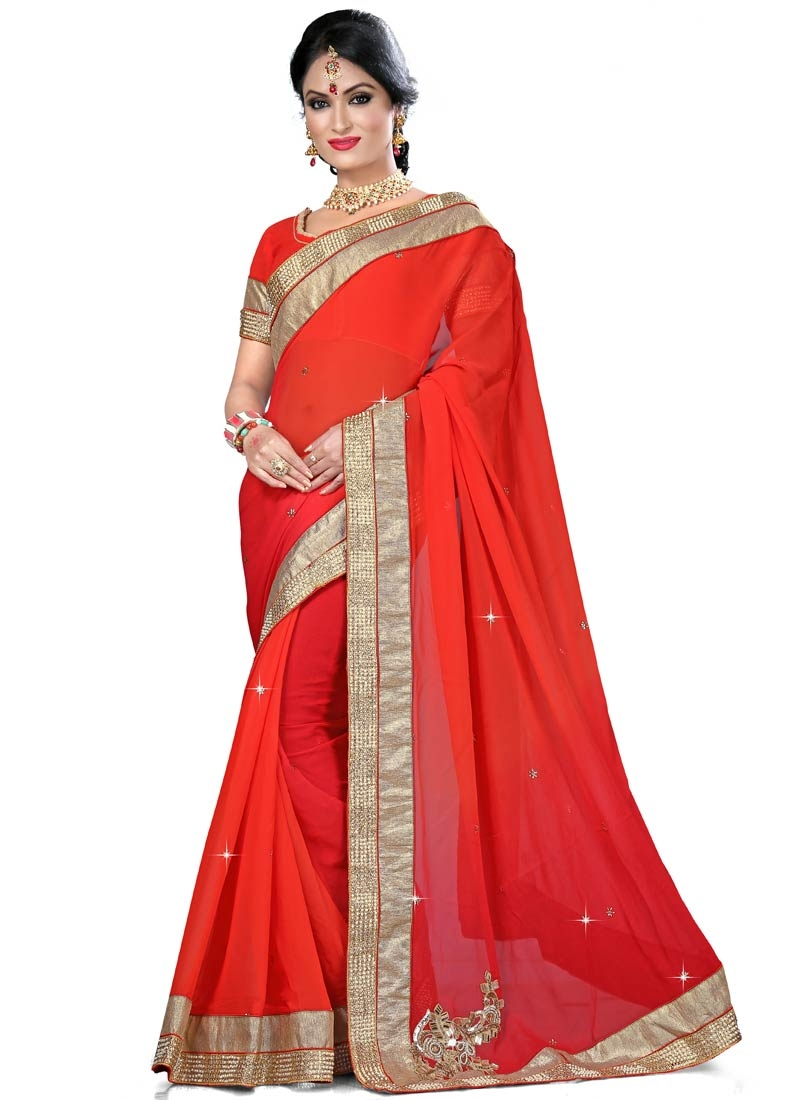 Refreshing Mirror Work Red Color Party Wear Saree