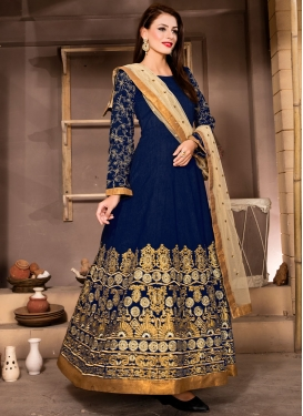 Refreshing Navy Blue Color Ankle Length Designer Suit