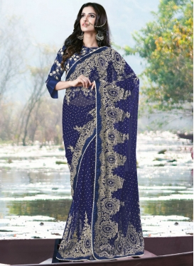 Refreshing Navy Blue Color Net Wedding Saree
