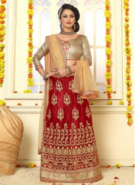 Refreshing Net Booti Work A Line Lehenga Choli