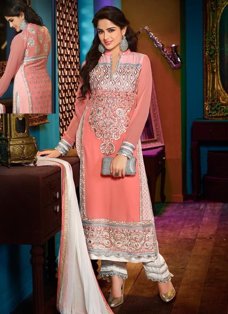 Refreshing Patch And Lace Work Designer Salwar Kameez