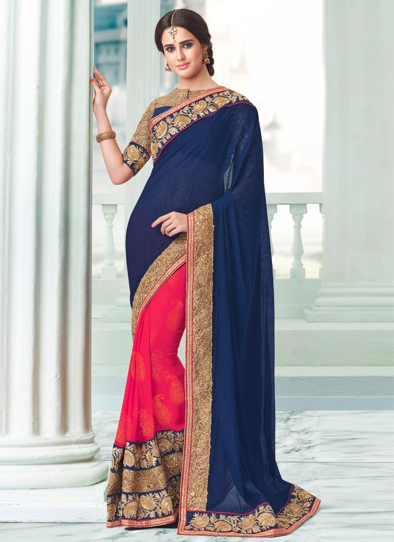 Refreshing Patch Border Work Navy Blue Color Half N Half Party Wear Saree
