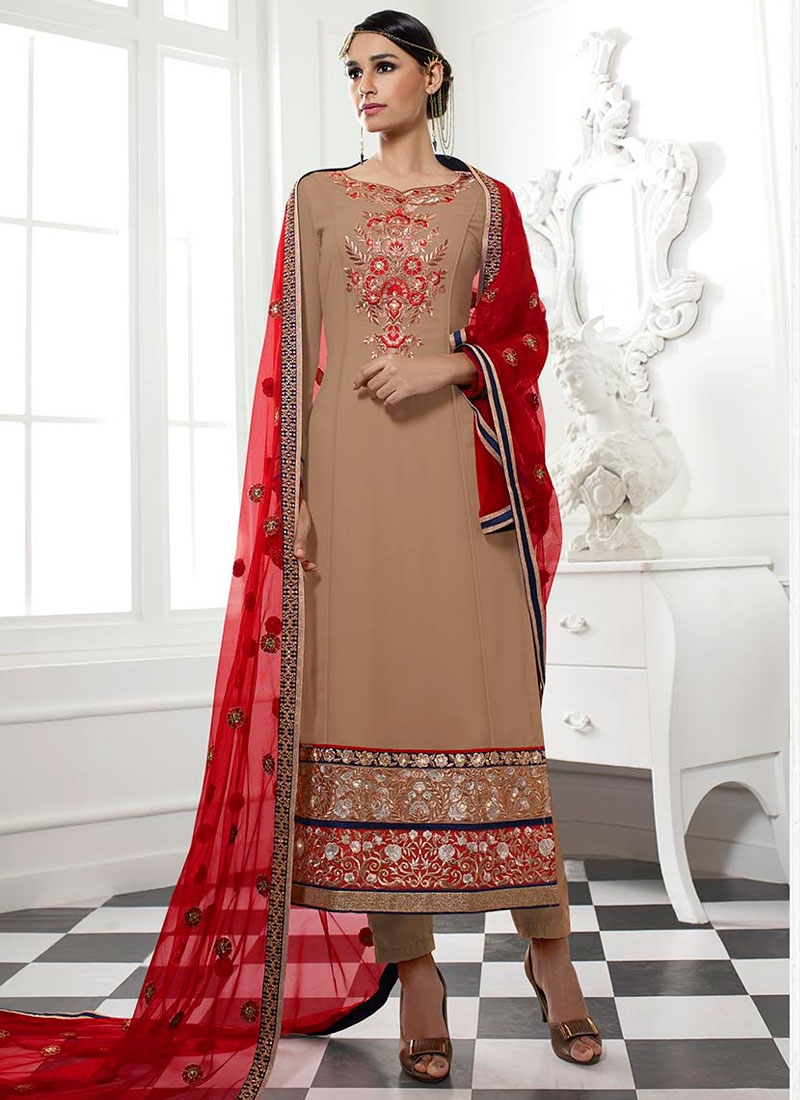 Refreshing Patch Border Work Straight Pakistani Salwar Suit