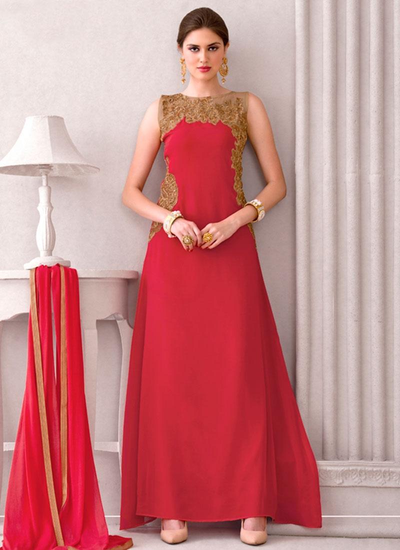 Refreshing Red Color Long Length Designer Salwar Kameez