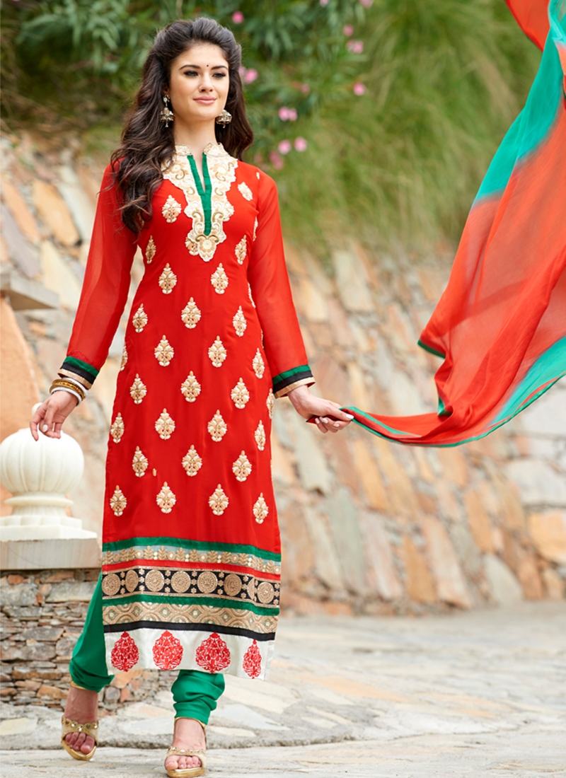 Refreshing Red Color Party Wear Suit