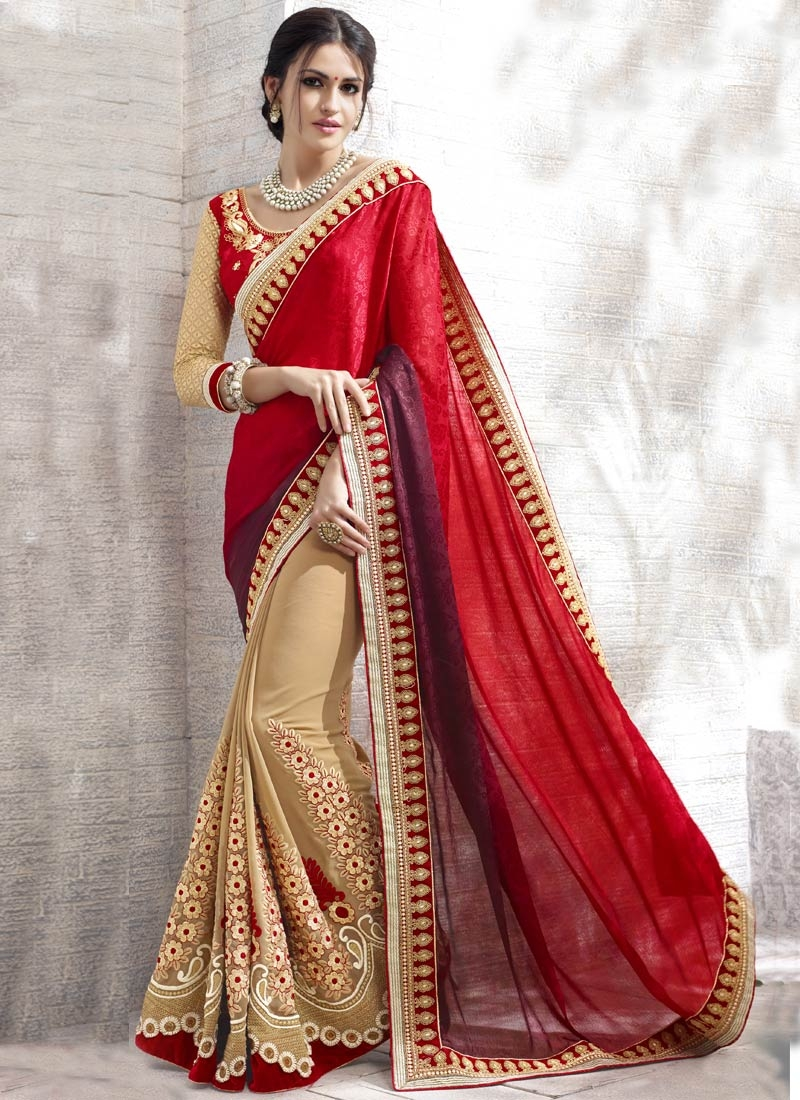 Refreshing Resham And Lace Work Half N Half Designer Saree