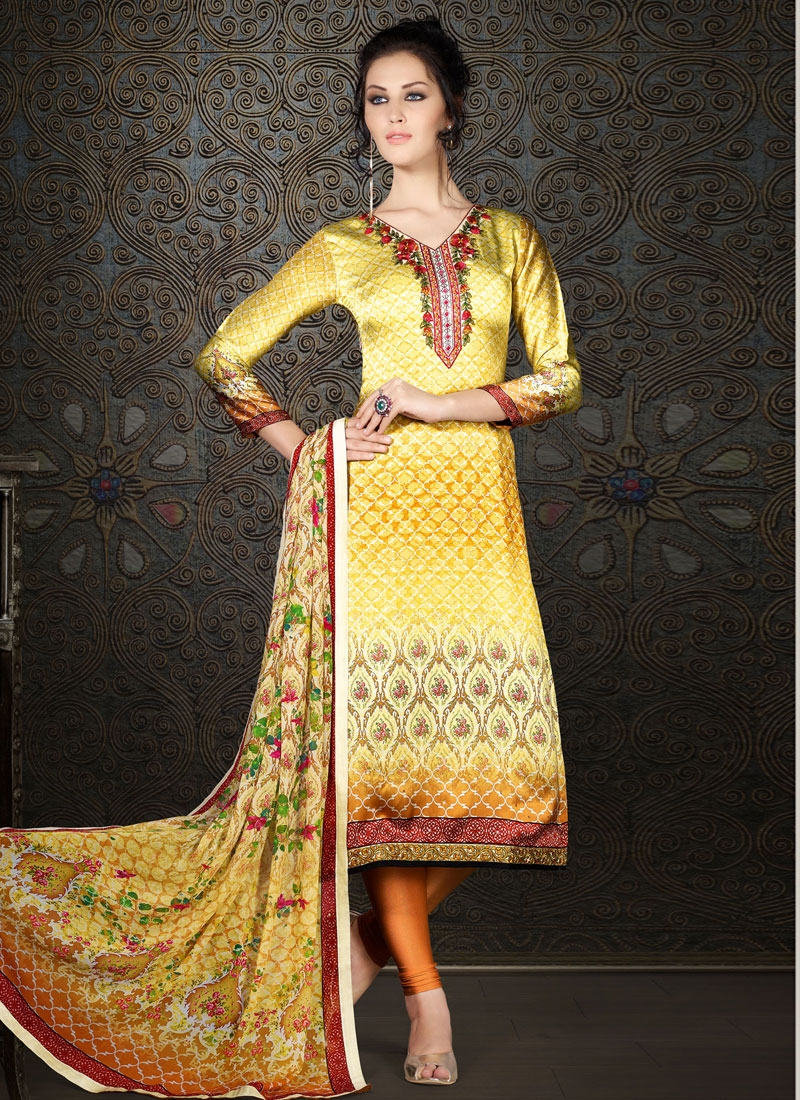 Refreshing Resham Work Yellow Color Party Wear Salwar Kameez