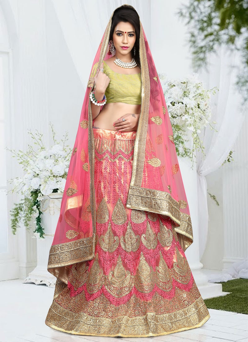 Refreshing Stone And Embroidery Work Net Bridal Lehenga Choli