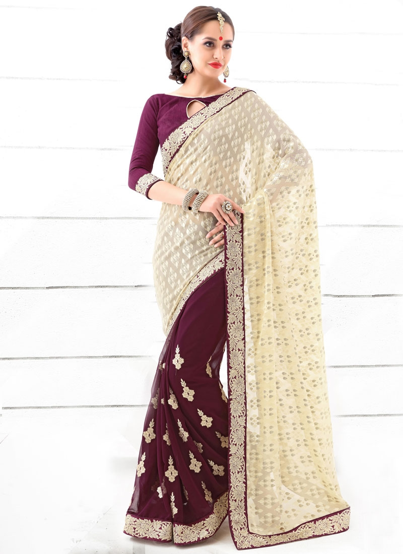 Refreshing Stone And Lace Work Half N Half Party Wear Saree