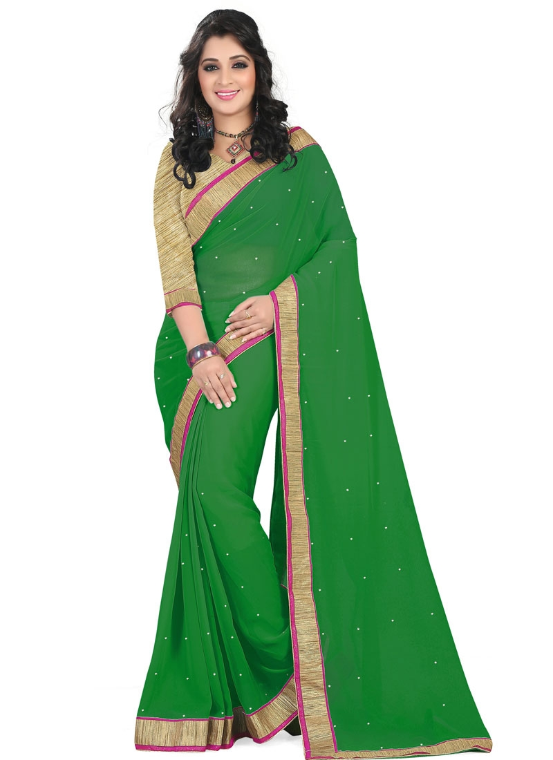 Refreshing Stone Work Green Color Casual Saree