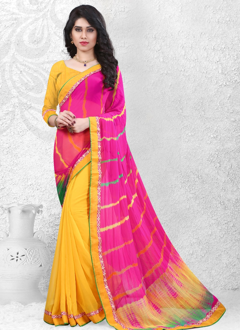 Refreshing  Yellow And Rose Pink Color Half N Half Casual Saree