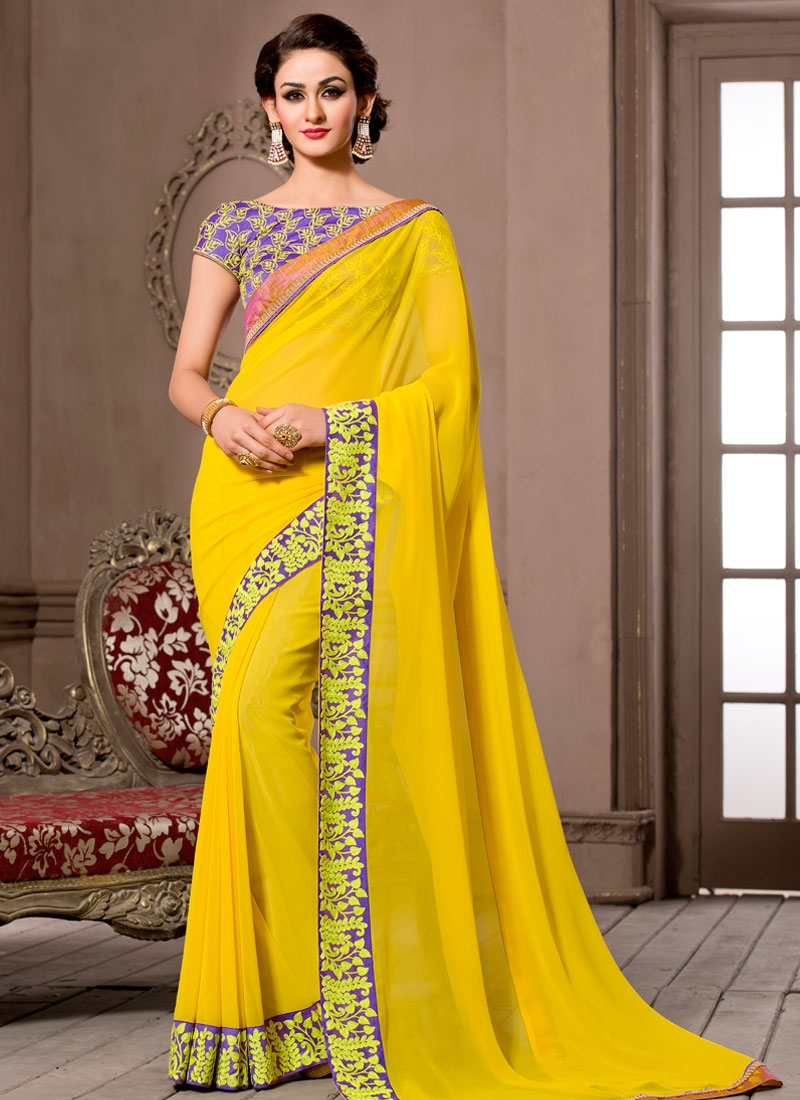 Refreshing Yellow  Color Party Wear Saree