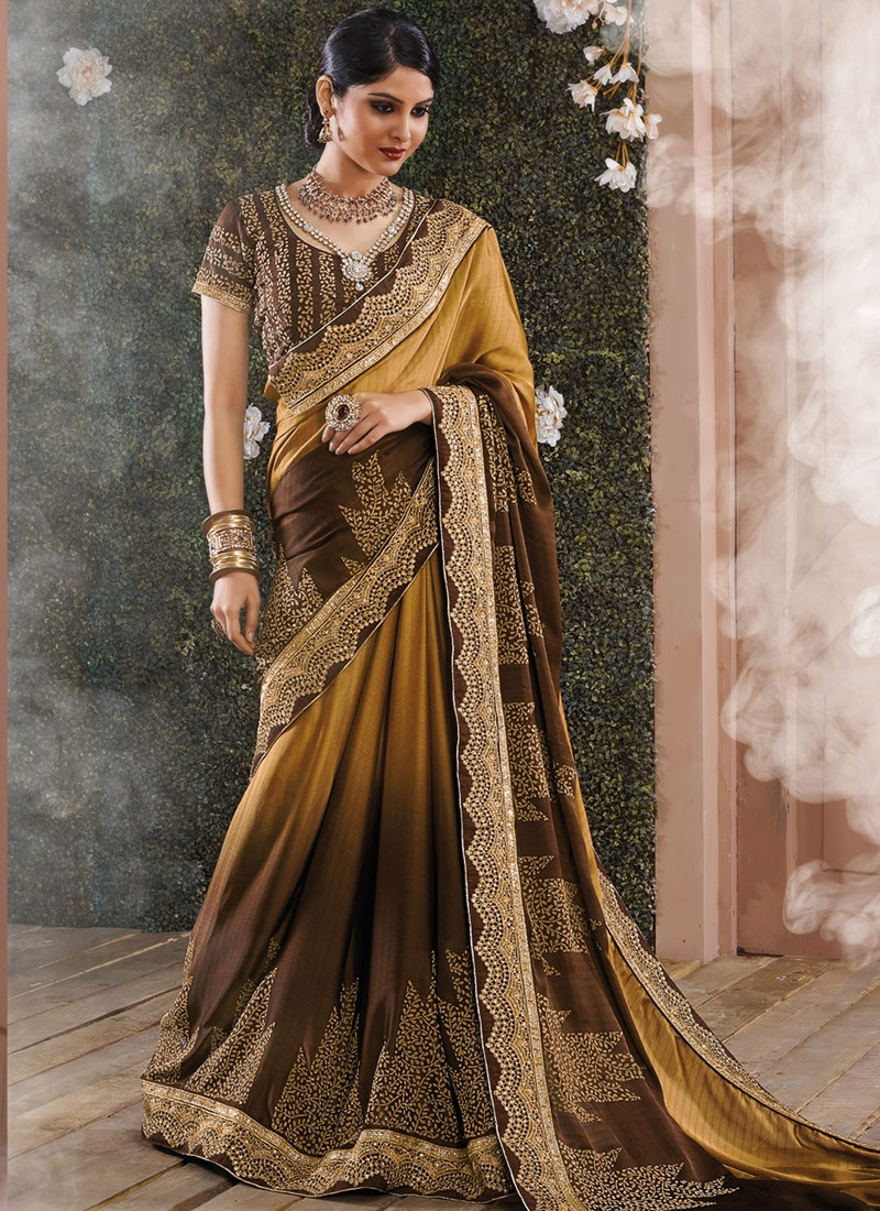 Regal Brown Color Chiffon Satin Designer Saree