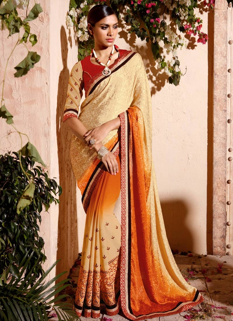 Regal Embroidery Work Jacquard Party Wear Saree