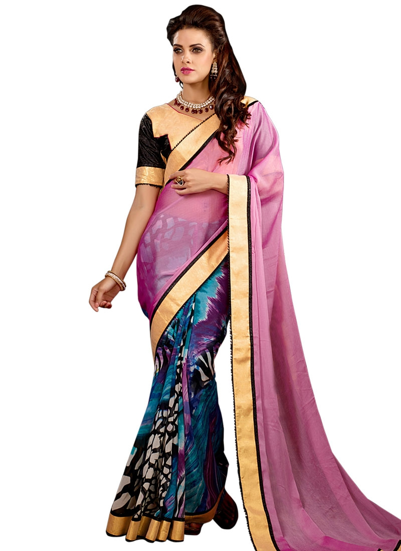 Regal Faux Chiffon Half N Half Party Wear Saree