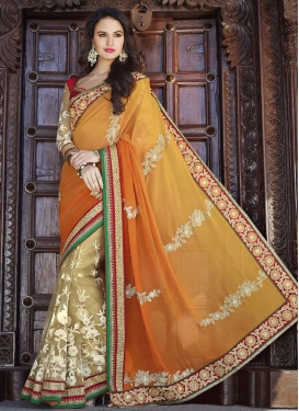 Regal Net And Faux Georgette Half N Half Wedding Saree