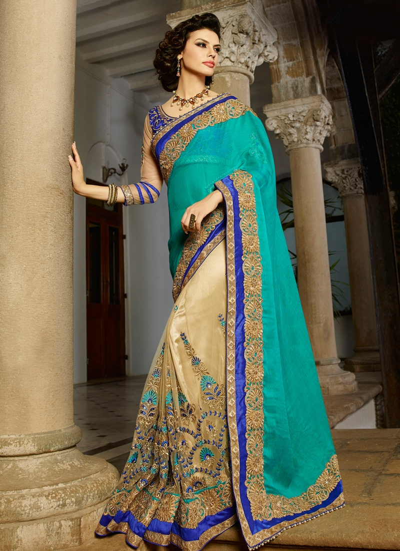 Regal Stone Work Half N Half Designer Saree