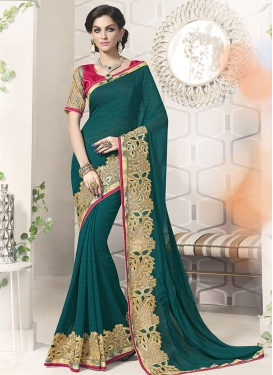 Regal Teal Color Resham Work Party Wear Saree
