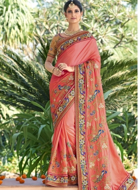 Remarkable Beads Work  Satin Silk Trendy Classic Saree