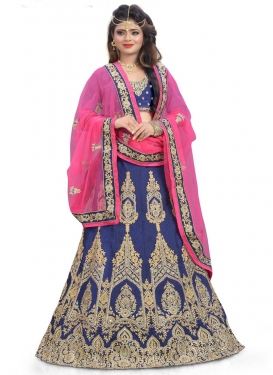 Remarkable Booti Work Silk A Line Lehenga Choli