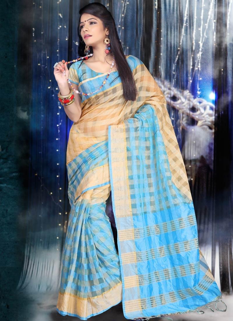 Remarkable Cotton Light Blue Color Casual Saree