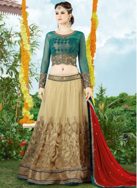 Remarkable Embroidered Work Beige Net Designer Lehenga Choli