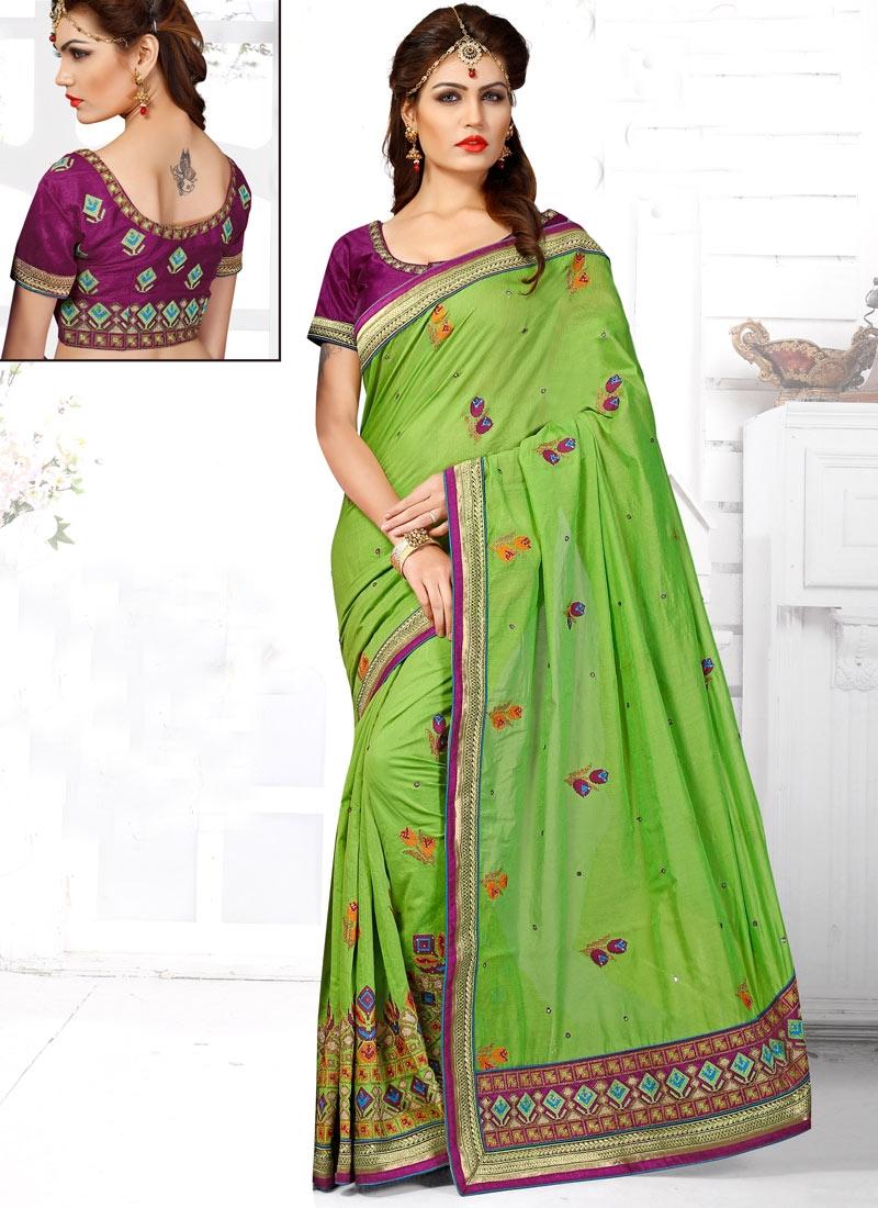 Remarkable Embroidery Work Chanderi Silk Wedding Saree