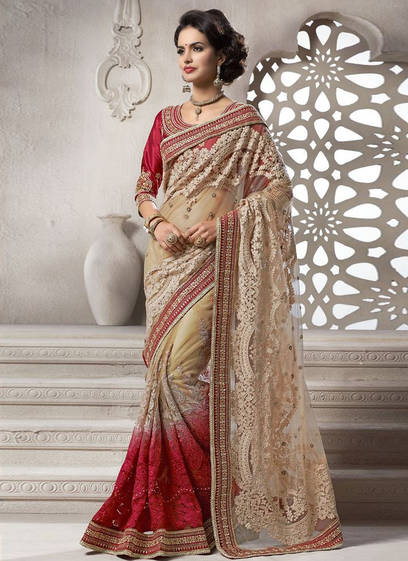 Remarkable Embroidery Work Wedding Saree