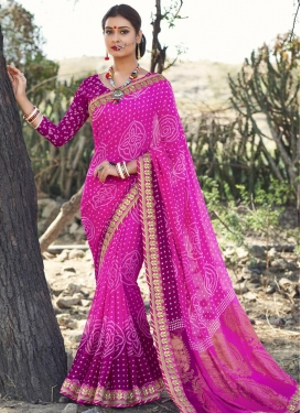 Remarkable Faux Georgette Fuchsia and Magenta Contemporary Saree