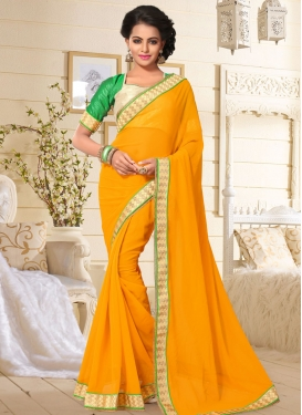 Remarkable Faux Georgette Mustard Saree