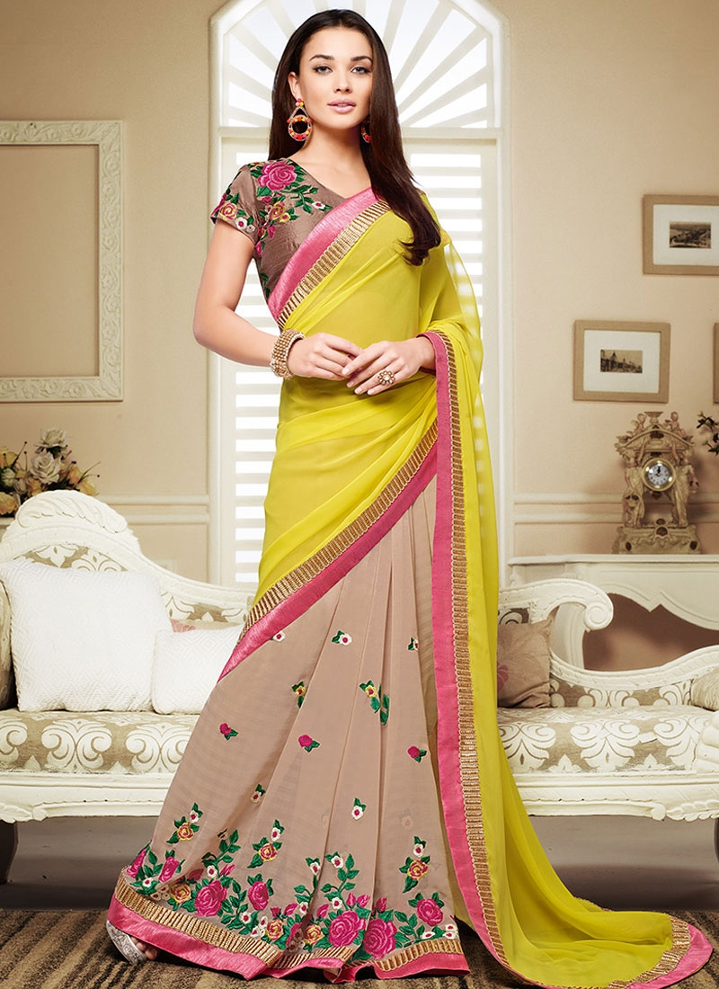 Remarkable Floral Work Amy Jackson Half N Half Party Wear Saree