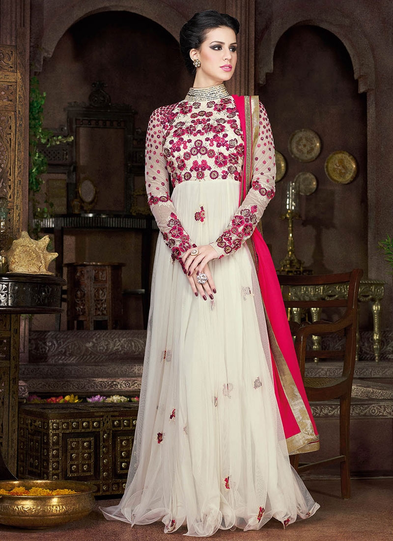 Remarkable Floral Work Floor Length Designer Salwar Suit
