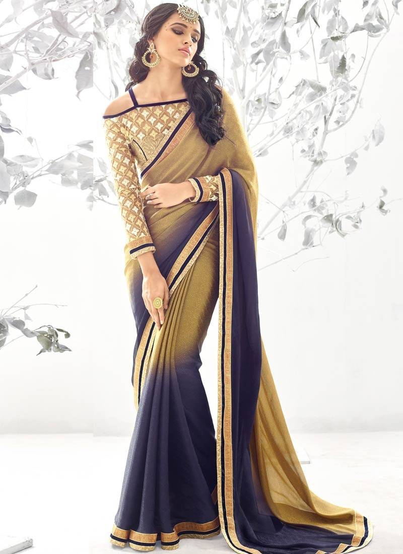 Remarkable Jacquard Navy Blue Color Party Wear Saree