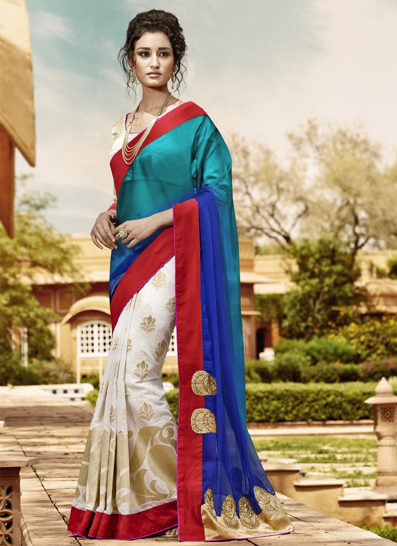 Remarkable Lace And Booti Work Half N Half Designer Saree