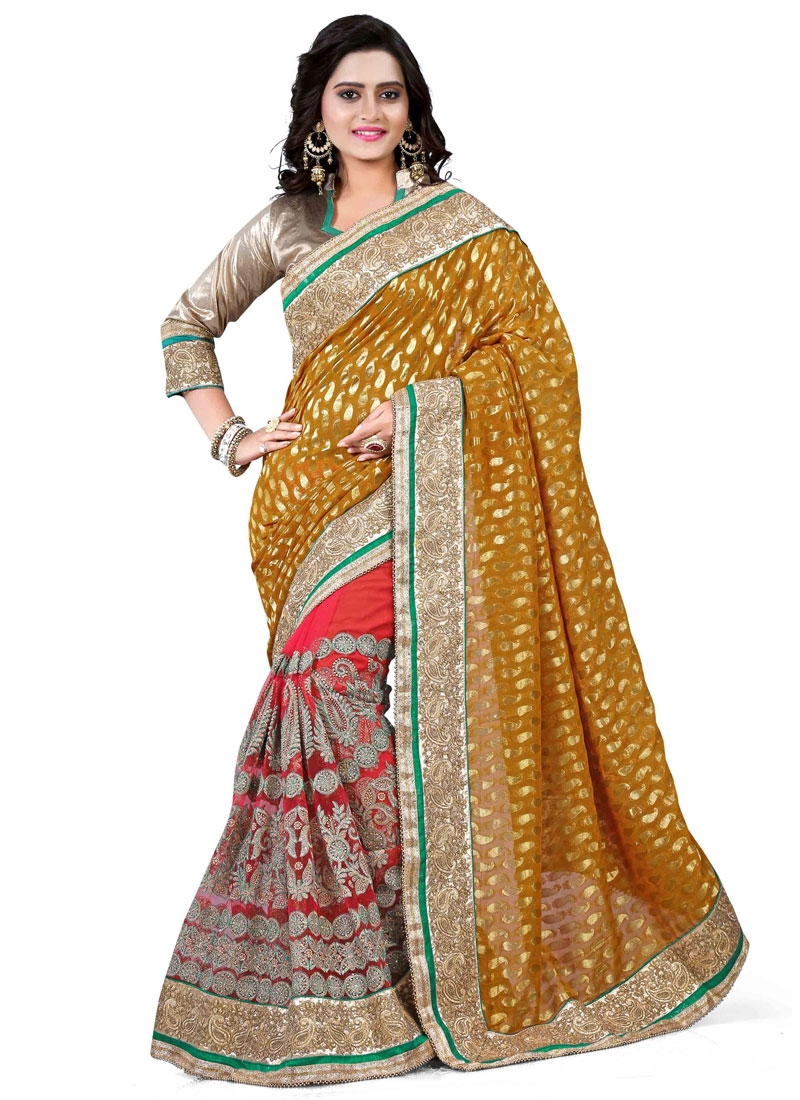Remarkable Mustard Color Beads Work Half N Half Wedding Saree